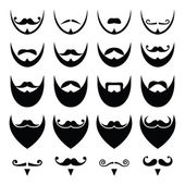 Beard with moustache or mustache vector icons set — Stock Vector