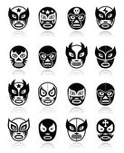 Lucha libre, luchador Mexican wrestling black masks icons — Stock Vector