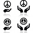 Peace sign with hands icons set — 图库矢量图片 #42611925