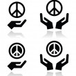 Peace sign with hands icons set — Stock Vector #42611925