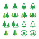 Pine tree, park vector green icons set — Stock Vector