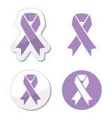 Lavender ribbon - general cancer awareness, epilepsy, Rett syndrome symbol — Stock Vector