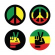 Rasta peace, hand gesture vector icons set — Stock Vector
