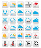 Weather forecast colorful vector buttons set — Stock Vector