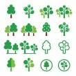 Trees, forest, park vector green icons set — Stock Vector #42793467