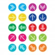 Dotted colorful arrows round icons set isolated on white — Stock Vector