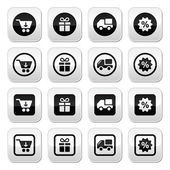 Shopping on internet black buttons set with shadow — Stock Vector