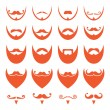 Ginger beard with moustache or mustache vector icons set — Vettoriale Stock