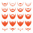 Ginger beard with moustache or mustache vector icons set — Stockvector
