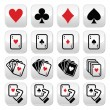 Playing cards, poker, gambling buttons set — Stock Vector