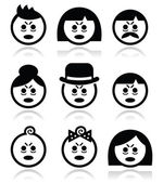 Tired or sick people faces icons set — Stock Vector