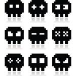 Pixelated 8bit skull vector icons set — Stock Vector #42901141