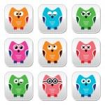Owl cartoon vector icons set — Stock Vector #42912259