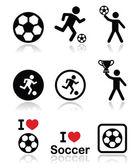 I love football or soccer, man kicking ball vector icons set — Stock Vector