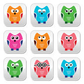 Owl cartoon vector icons set — Stock Vector