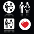 Wedding married couple white icon set on black — Stock Vector