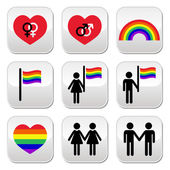 Gay and lesbian couples, rainbow vector buttons set — Stock Vector