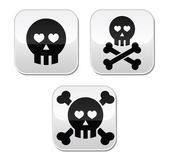 Cartoon skull with bones and hearts vector buttons set — Stock Vector
