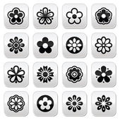 Flower head vector buttons set — Stock Vector
