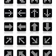 Dotted arrows on black square icons set isolated on white — Stock Vector #43210905
