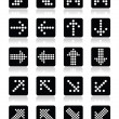 Dotted arrows on black square icons set isolated on white — Stock Vector