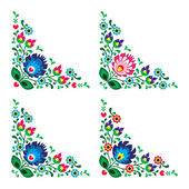 Corner border Polish floral folk embroidery pattern - wzory lowickie — Stock Vector