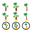 Palm trees, exotic holidays on beach vector colorful icons set — Stock Vector