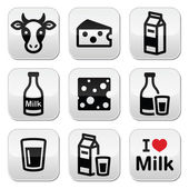 Dairy products - milk, cheese vector buttons set — Stock Vector