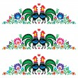 Polish floral folk long embroidery pattern with roosters - wzory lowickie — Stock Vector #43312445