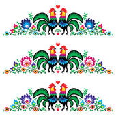 Polish floral folk long embroidery pattern with roosters - wzory lowickie — Stock Vector