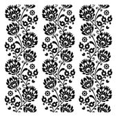 Seamless traditional folk polish pattern in black - seamless embroidery stripes — Stock Vector