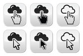 Cloud with cursor hand and arrow buttons set — Stock Vector