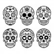 Mexican sugar skull, Dia de los Muertos icons set — Stock Vector