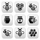 Conjunto de iconos de vector abeja y miel — Vector de stock