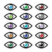 Eye colors sight icons set - vector icons set — Stock Vector
