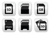 SD, memory card, adapter buttons set — Stock Vector