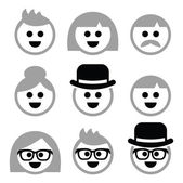 People with grey hair, seniors, old people icons set — Stock Vector