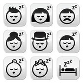 Sleeping, dreaming people faces buttons set — Stock Vector