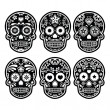 Mexican sugar skull, Dia de los Muertos black icons set — Stock Vector