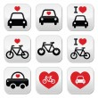 I love cars and bikes buttons set — Stock Vector