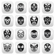 ������, ������: Lucha libre luchador Mexican wrestling black masks buttons