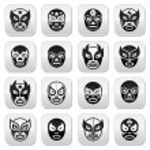 Постер, плакат: Lucha libre luchador Mexican wrestling black masks buttons