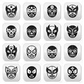 Lucha libre, masque de luchador mexicain lutte noir boutons — Vecteur