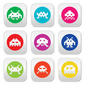 Space invaders, 8-bit aliens round icons set — Stock Vector