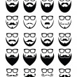 Beard and glasses, hipster icons set — Stok Vektör