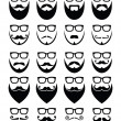 Beard and glasses, hipster icons set — Stockvektor