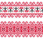 Ukrainian, Slavic red and grey traditional seamless folk embroidery pattern — Stock Vector