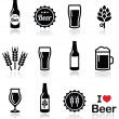 Beer vector icons set - bottle, glass, pint — Stock Vector #44330789