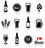 Beer vector icons set - bottle, glass, pint — Stock Vector