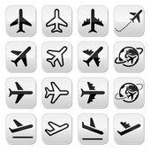 Plane, flight, airport icons set — Vettoriale Stock